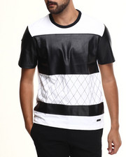 Akademiks - University Cut & Sewn Faux Leather Jersey Shirt