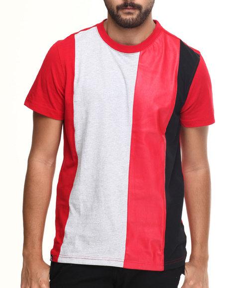 Akademiks - Men Red Trinity Multi Stripe Color Block S/S Tee