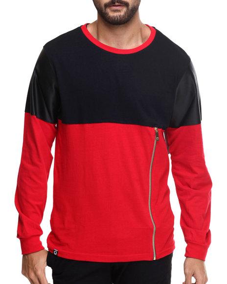 Akademiks - Men Red Concord Zipper Trim L/S Shirt