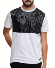 Akademiks - Fordham  Crewneck Faux leather Trim Tee