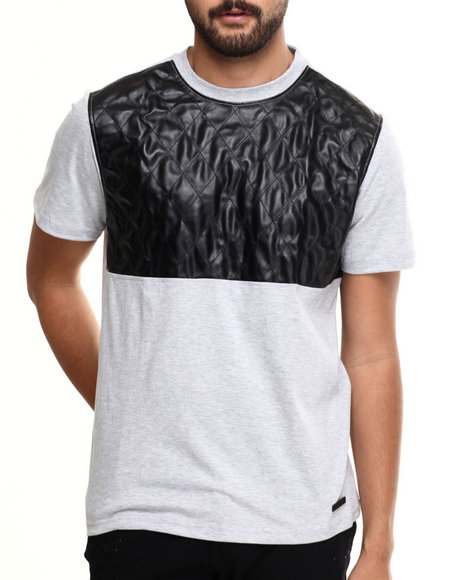 Akademiks - Men Grey Fordham  Crewneck Faux Leather Trim Tee