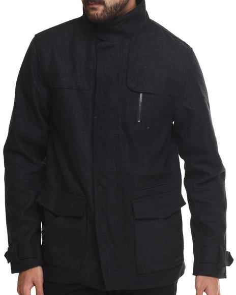 Kr3w - Men Black Redford Wool Tonal Plaid Jacket