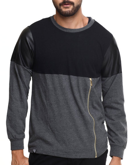 Akademiks - Men Charcoal Concord Zipper Trim L/S Shirt
