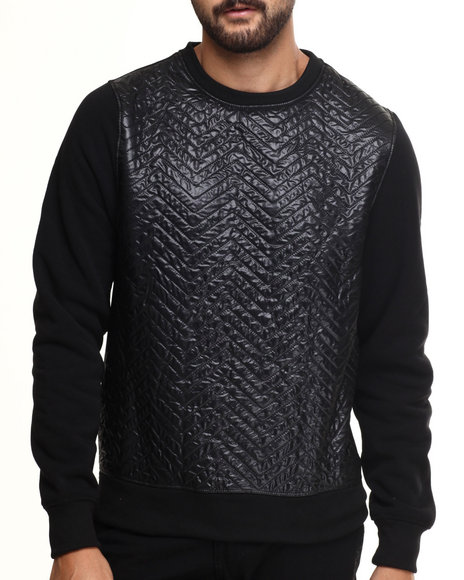 Akademiks - Men Black Tremont Quilted Fleece Pullover Sweatshirt - $45.00
