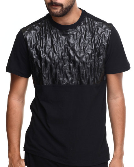 Akademiks - Men Black Fordham  Crewneck Faux Leather Trim Tee - $18.99
