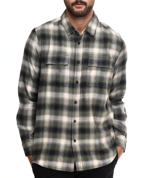 Kr3w - Men Olive Ambush Plaid Flannel L/S Button-Down