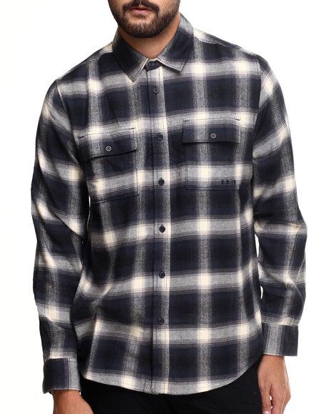 Kr3w - Men Navy Ambush Plaid Flannel L/S Button-Down