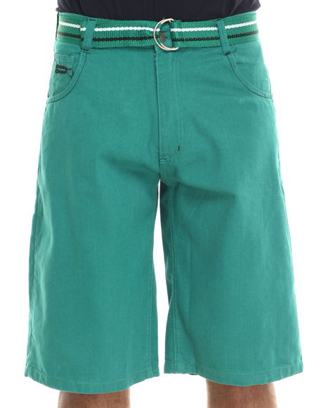 Basic Essentials - Men Green Belted Denim Shorts