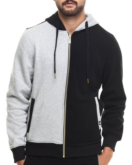 Akademiks - Men Black Wales Color Block Fleece Full Zip Hoodie