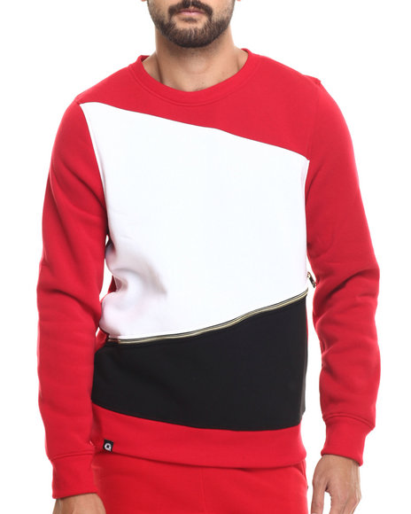 Ur-ID 185900 Akademiks - Men Red Prospect Zipper Detail Sweatshirt