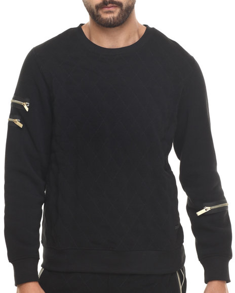 Akademiks - Men Black High Bridge Quilted Fleece Crewneck Sweatshirt - $14.99