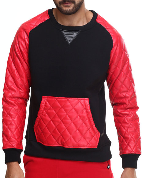 Ur-ID 185905 Akademiks - Men Red Melrose Kangaroo Pocket Pullover Sweatshirt