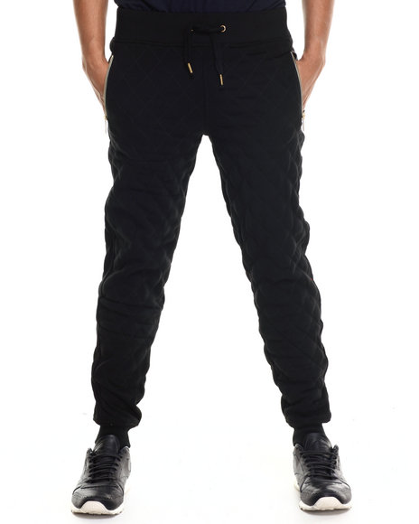 Akademiks - Men Black Kingsbridge Quilted Fleece Sweatpants - $43.99