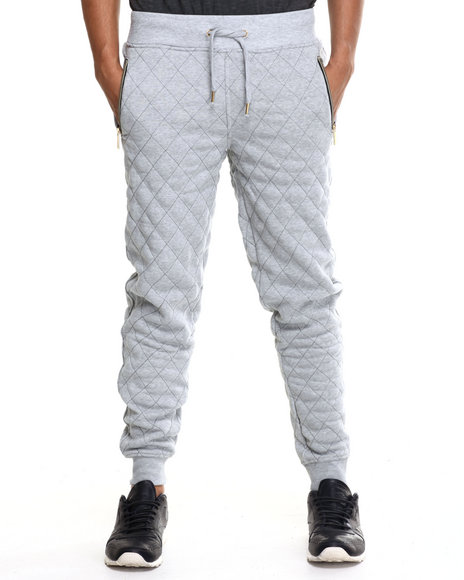 Akademiks - Men Grey Kingsbridge Quilted Fleece Sweatpants