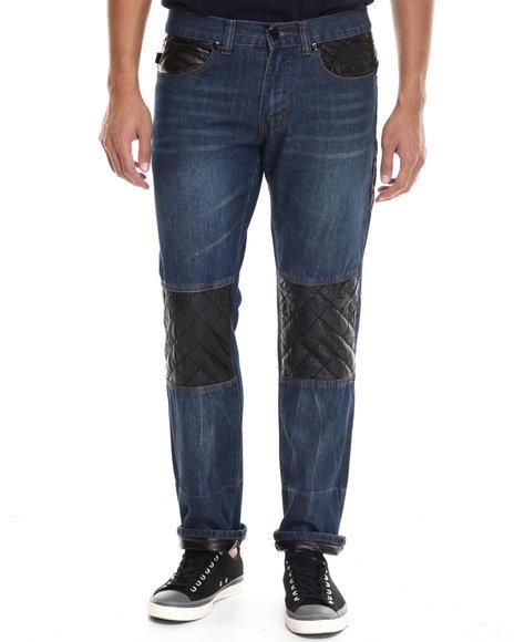 Akademiks - Men Indigo Belmont Quilt Detail Denim Jeans - $27.99