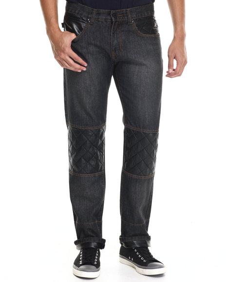 Akademiks - Men Black Belmont Quilt Detail Denim Jeans