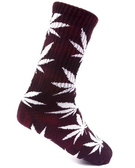 Huf Men Tie Dye Plantlife Crew Socks Maroon