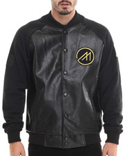 Outerwear - Cozy Boyz Faux Leather Varsity Jacket