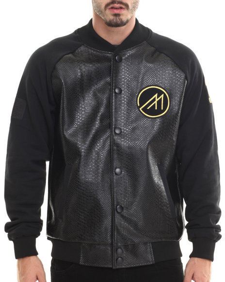 Mint - Men Black Cozy Boyz Faux Leather Varsity Jacket