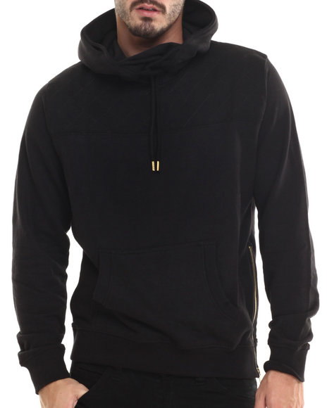 Buyers Picks - Men Black P / U Trimmed French Terry Pullover Hoodie