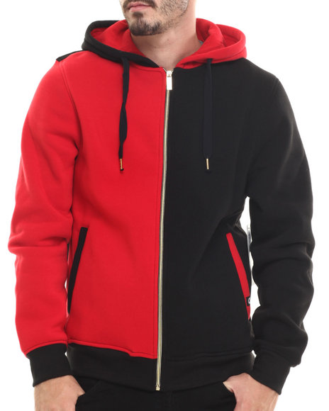 Akademiks - Men Red Wales Color Block Fleece Full Zip Hoody