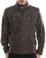 Leather Jackets - Michael Faux Leather Trucker Jacket