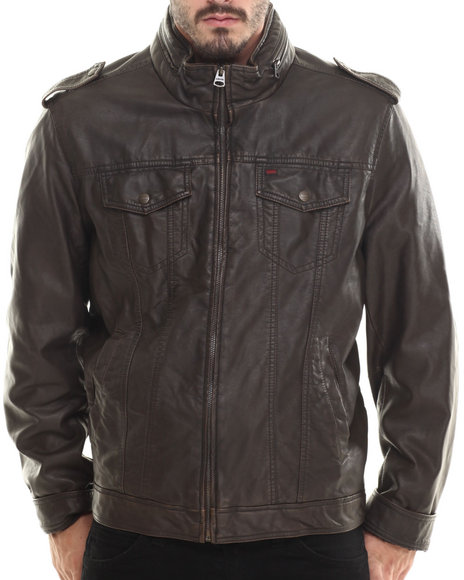 Levi's - Men Brown Michael Faux Leather Trucker Jacket