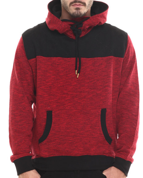Buyers Picks - Men Red P / U Trimmed French Terry Pullover Hoodie