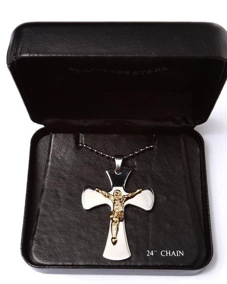Drj Accessories Shoppe Men Two-Toned Stainless Steel Jesus Cross Silver