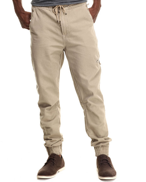 Parish - Men Khaki Solid Canvas Jogger