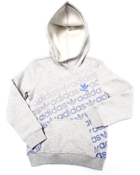 Adidas - Boys Light Grey Junior Trefoil Fleece Hoody