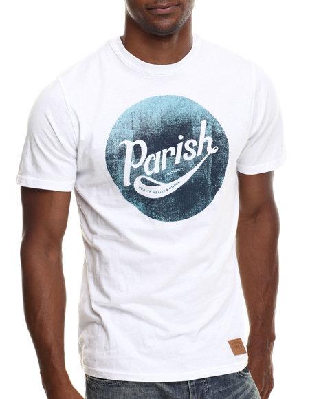 Parish - Men White Patchwork Graphic T-Shirt