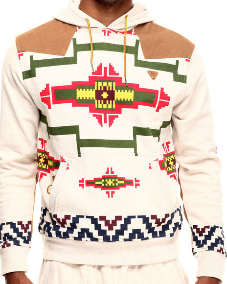 Parish - Men Khaki Printed Popover Hoodie