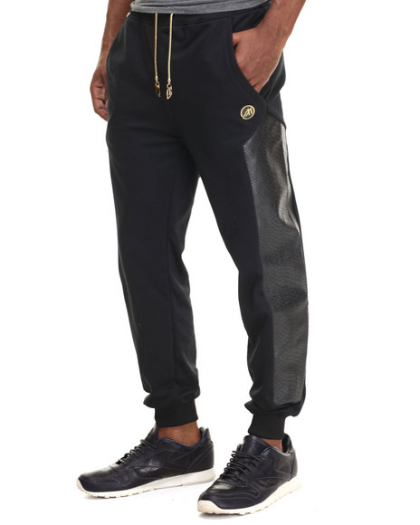 Mint - Men Black Cozy Boyz Faux Leather - Trimmed Jogger
