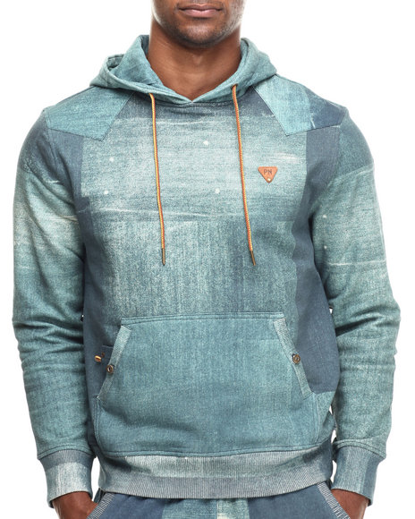 Parish - Men Dark Wash Printed Popover Hoodie
