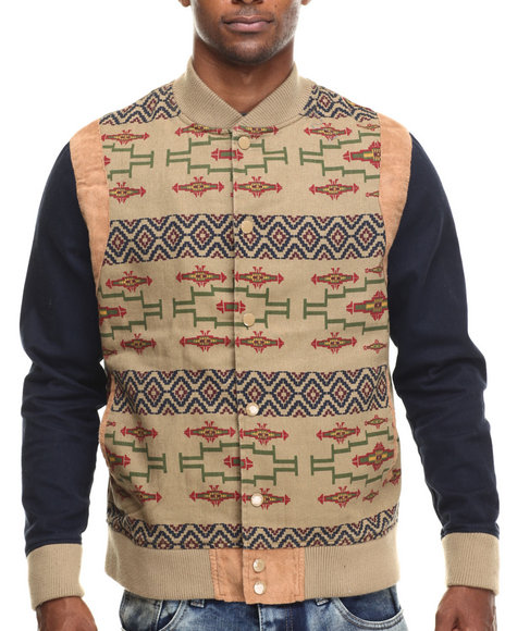 Parish - Men Blue Printed Twill Jacket