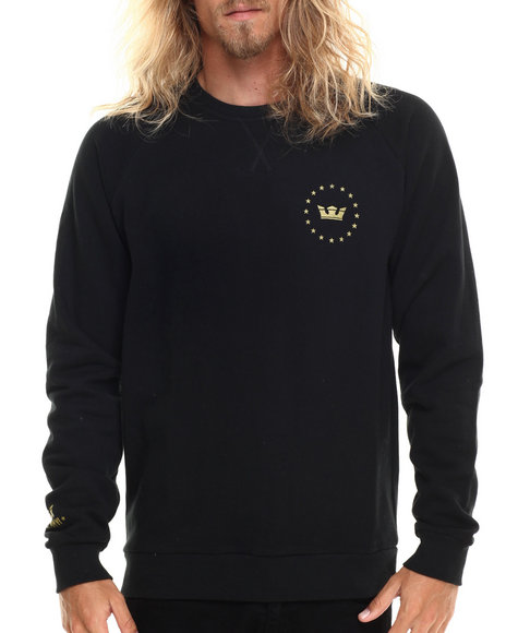 Supra - Men Black Allegiance Crew Fleece Sweatshirt