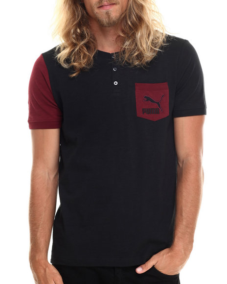 Puma - Men Black,Maroon Novelty Knit Pocket Tee