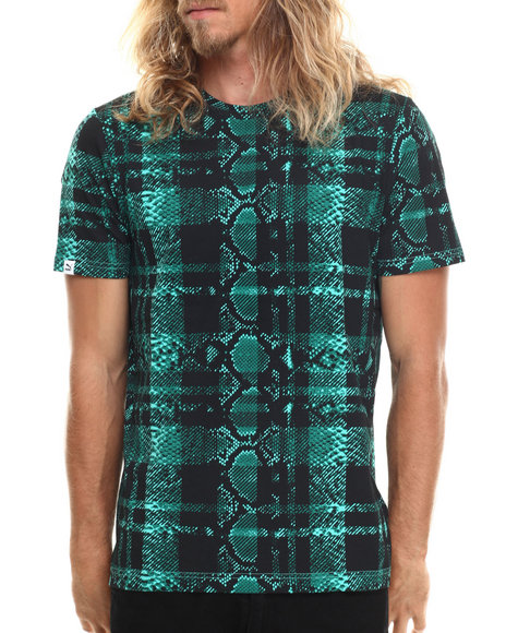 Puma - Men Teal Plaid Snake Fashion Tee