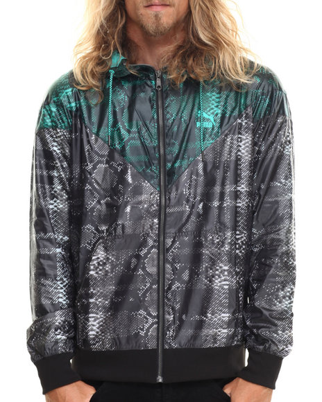 Puma - Men Animal Print,Black,Teal Windbreaker Snake Print Jacket