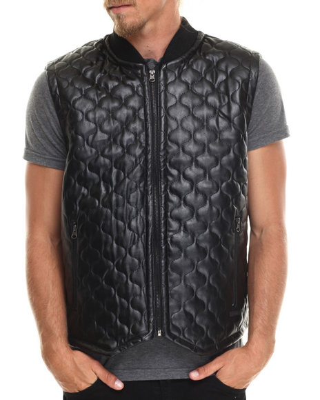 Akademiks - Men Black Fairfax Quilted Faux Leather Vest - $38.99