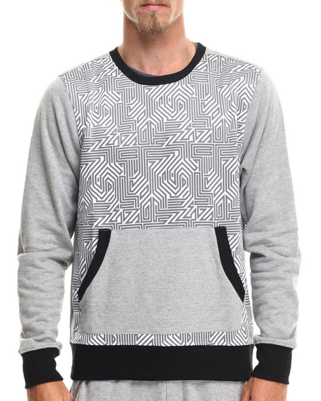 Enyce - Men Grey Hi Tek Geo Print Sweatshirt