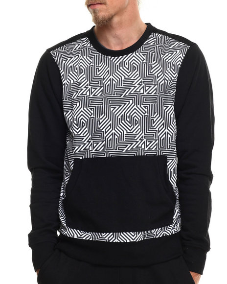 Enyce - Men Black Hi Tek Geo Print Sweatshirt - $21.99