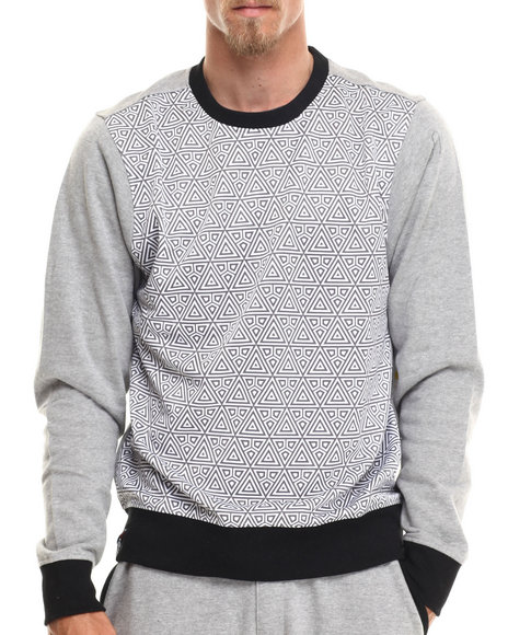Enyce - Men Grey Native Tounge Geo Print Sweatshirt