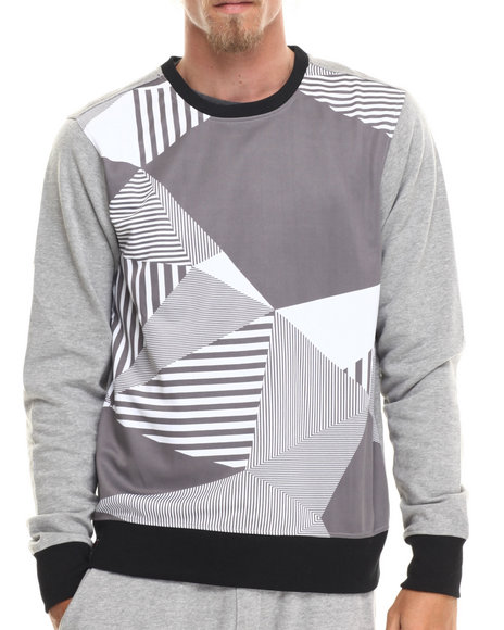 Enyce - Men Grey Pos Geo Print Sweatshirt