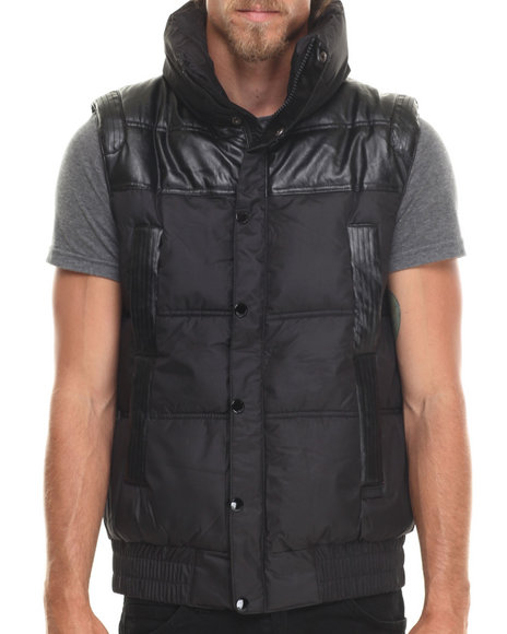 Akademiks - Men Black Artic Padded Coated/Faux Leather Vest