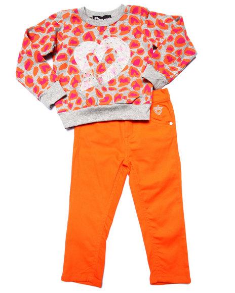 Dollhouse - Girls Orange Leopard Top & Twill Pants (2T-4T) - $19.99