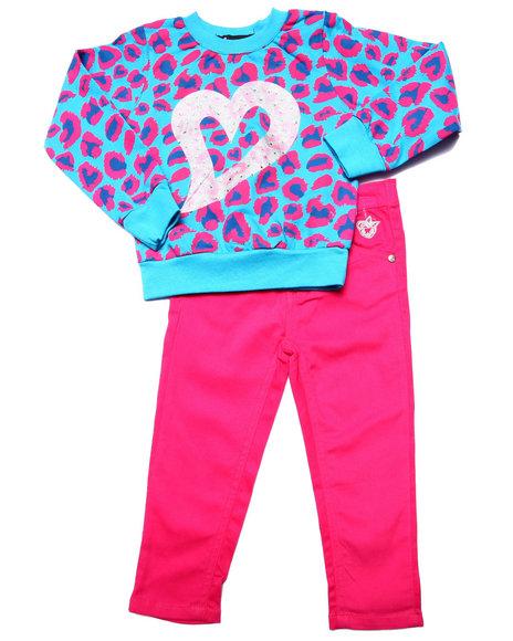 Dollhouse - Girls Pink Leopard Top & Twill Pants (2T-4T) - $28.00