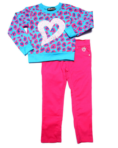 Dollhouse - Girls Pink Leopard Top & Twill Pants (4-6X) - $24.99