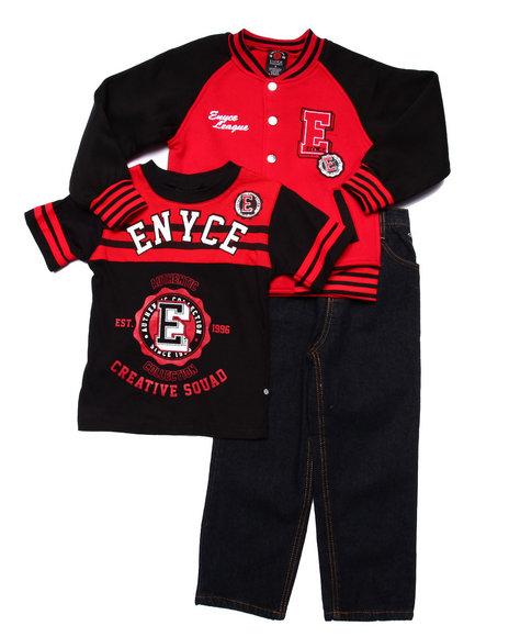 Enyce - Boys Red 3 Pc Set - Varsity Jkt, Tee, & Jeans (4-7)